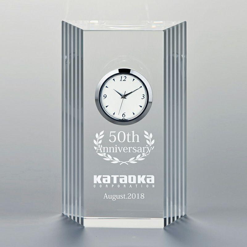 ガラス時計 クリアブロック・ネオ WIN-ZE-355-11 (高さ125×横80mm)